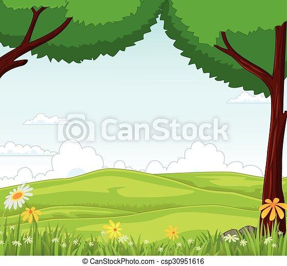 Animal cartoon in the jungle  - csp30951616