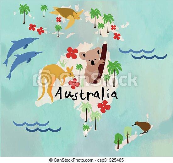 Animal cartoon map. australia. Animal cartoon map. australia ...