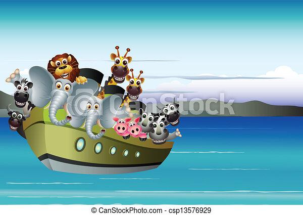 Vector illustration of animal cartoon on boat.