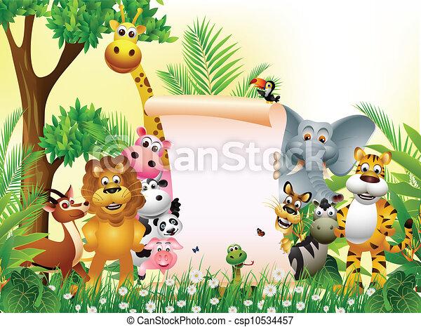 animal cartoon with blank sign - csp10534457