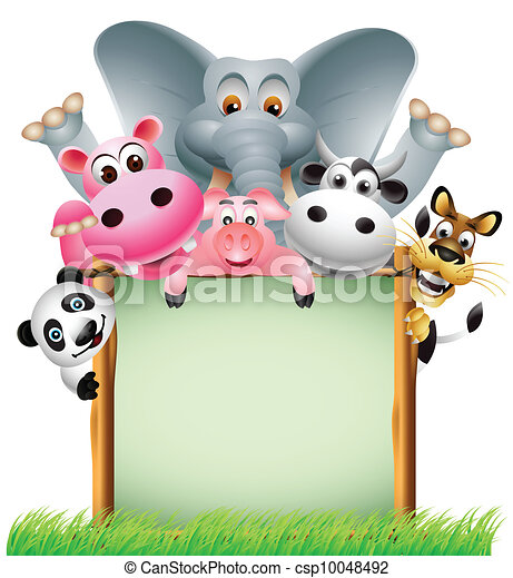 animal cartoon with blank sign - csp10048492