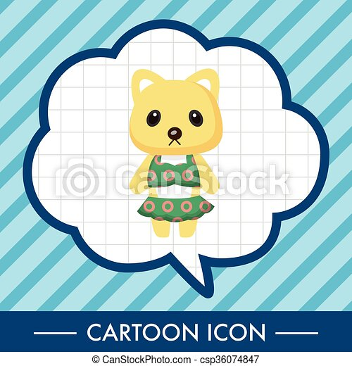 animal cat summer cartoon theme elements - csp36074847