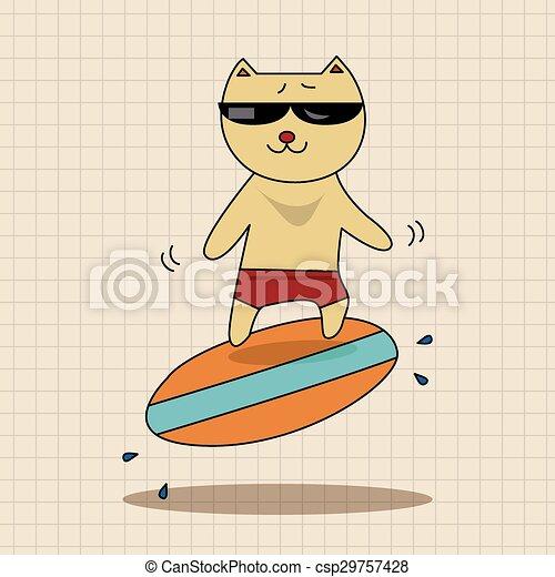 animal cat summer cartoon theme elements - csp29757428
