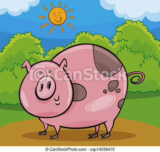 Clip art vectorial de animal cerdo caricatura ilustracin