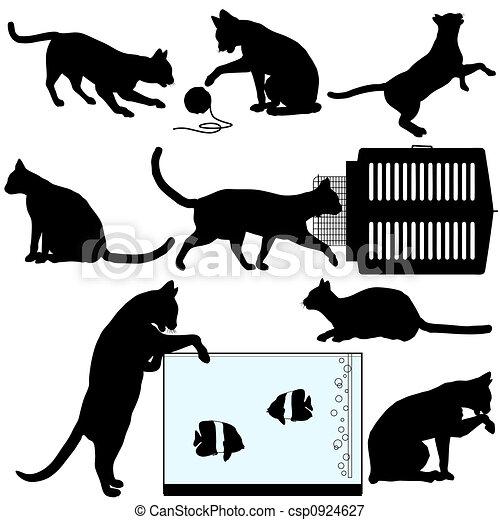 animal estimação, objetos, silueta, gato - csp0924627