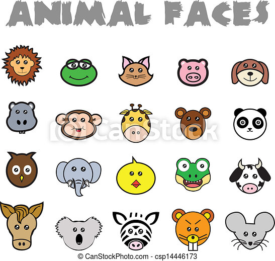animal faces csp14446173 - Free Line Drawings Of Animals