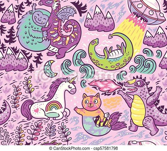 Criaturas fantásticas, patrones de animales. Vector lindo fondo - csp57581798