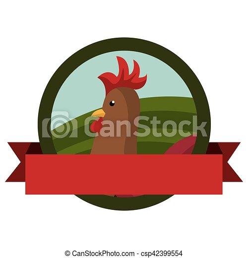 animal farm emblem with ribbon - csp42399554