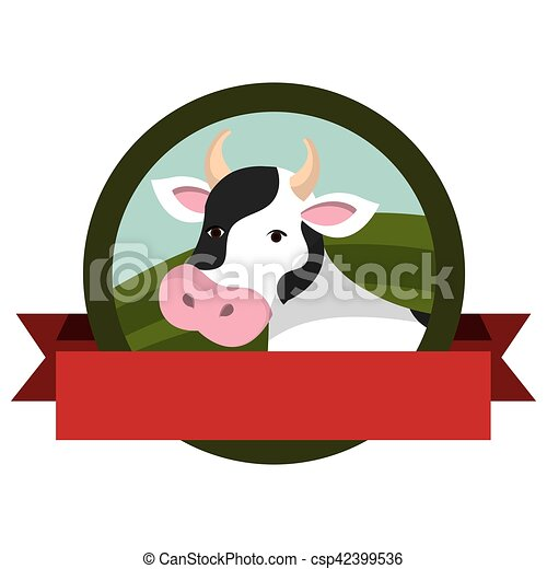 animal farm emblem with ribbon - csp42399536