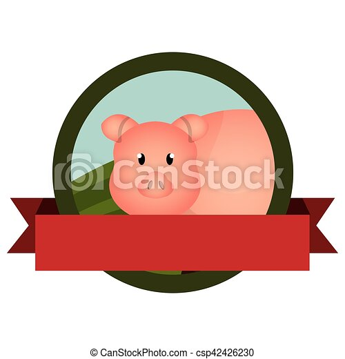 animal farm emblem with ribbon - csp42426230