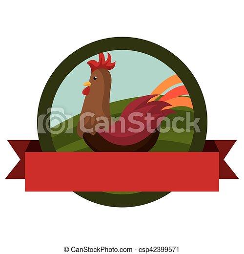 animal farm emblem with ribbon - csp42399571