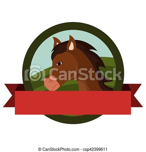 animal farm emblem with ribbon - csp42399611