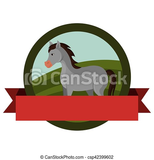 animal farm emblem with ribbon - csp42399602