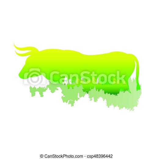 /animal, floresta, silueta, dentro, parque, luminoso, ilustração, experiência., cores, vetorial, pinho, touro, branca, símbolo, logotipo, / - csp48396442