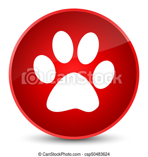 Animal footprint icon elegant red round button - csp50483624