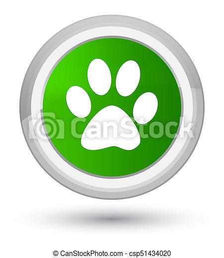 Animal footprint icon prime green round button - csp51434020