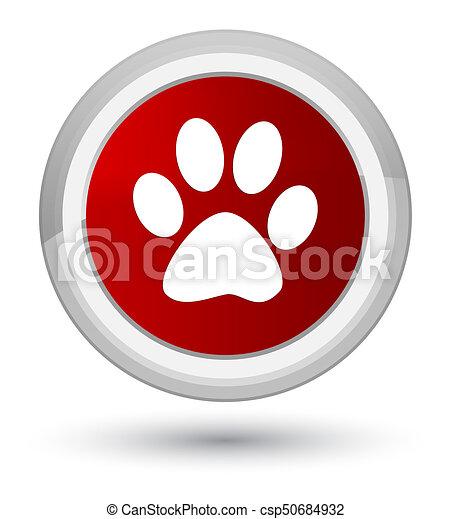 Animal footprint icon prime red round button - csp50684932