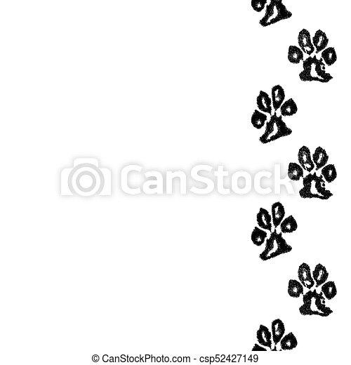 Dog paw print border free