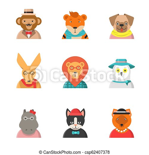 Animal funny faces  Hipster avatars of monkey cat kangaroo hippo tiger cute  clothes vector characters in flat style