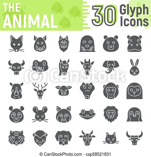 Animal glyph icon set, beast symbols collection, vector sketches, logo illustrations, farm signs solid pictograms package isolated on white background, eps 10. - csp58521831