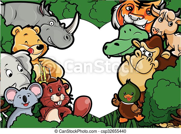 Animal group forest scenery - csp32655440