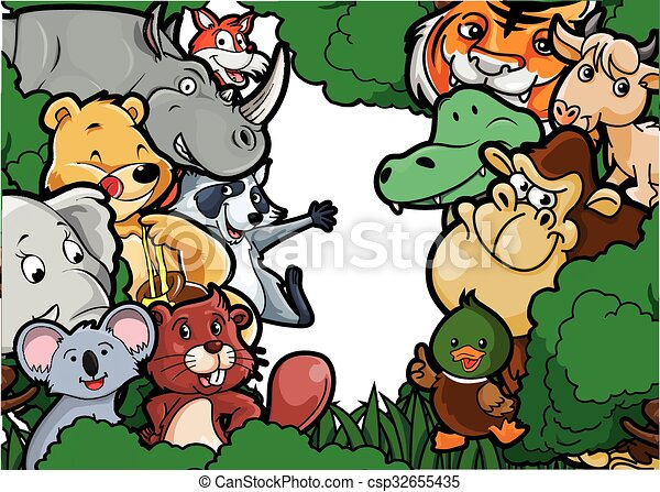 Animal group forest scenery - csp32655435