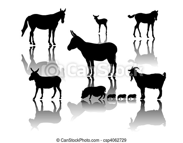 animal group with shadows - csp4062729