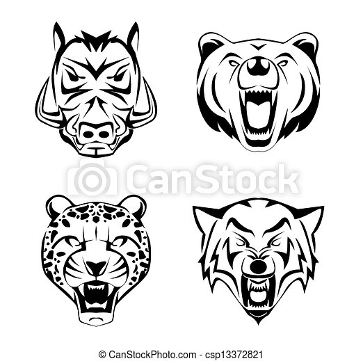 Animal Head set tattoo - csp13372821