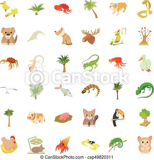 Animal icons set, cartoon style - csp49820311