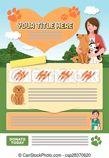 Animal leaflet design template  - csp28370620