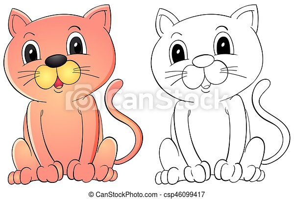 Animal Outline For Cute Cat   Csp46099417