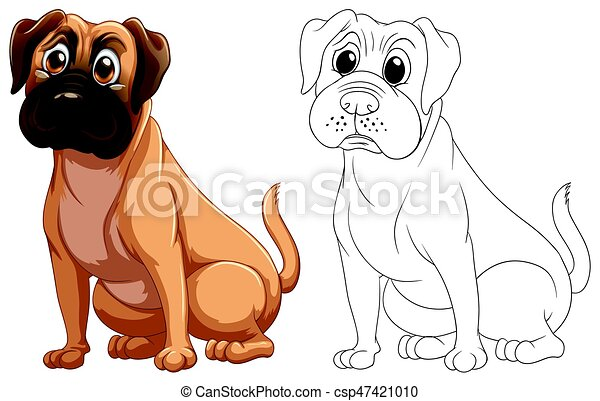 Animal Outline For Cute Dog Illustration
