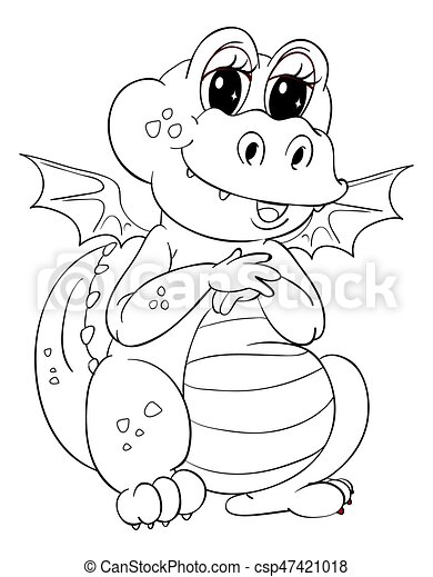 Animal Outline For Cute Dragon   Csp47421018