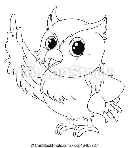 animal outline for cute owl illustration