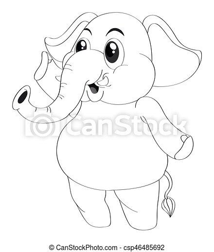 animal outline for elephant standing illustration