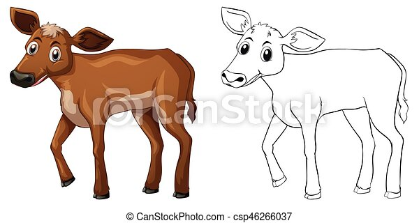 Animal outline for little cow