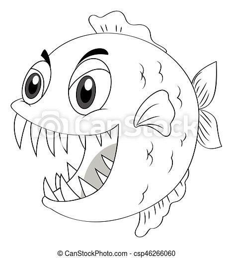 animal outline for piranha fish illustration