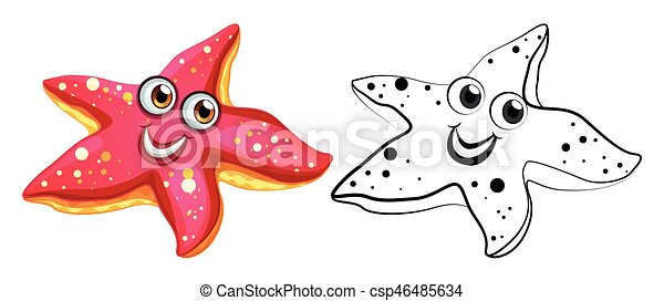 Animal outline for starfish with happy face - csp46485634