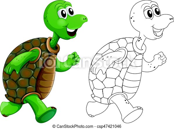 Animal outline for turtle running - csp47421046