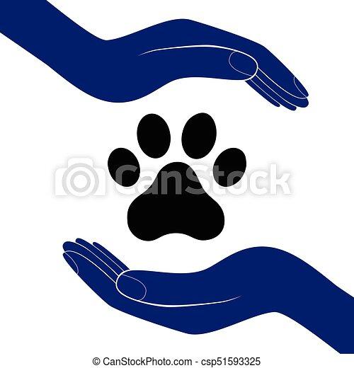 Animal Patte Main Illustratration Gens Chien Encourager Vecteur Humain Aide