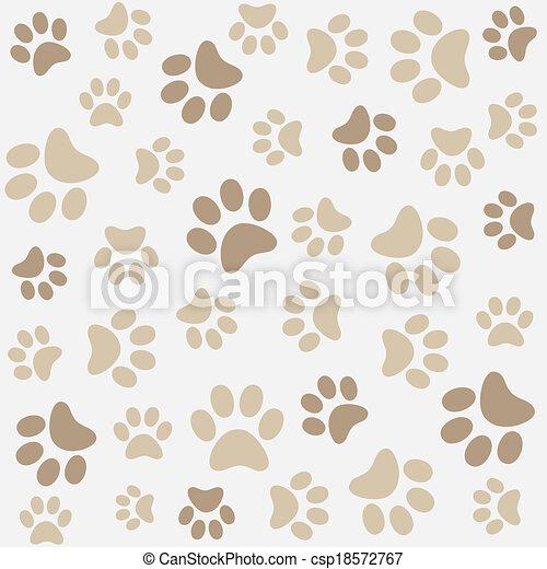 Animal pattern of paw footprint - csp18572767