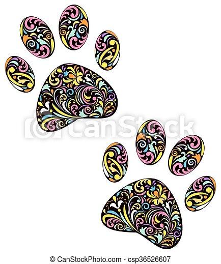 animal paw print on white background - csp36526607