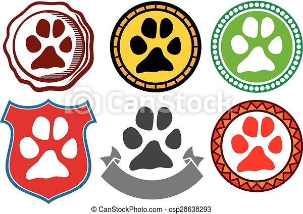 animal paw sign icons - csp28638293