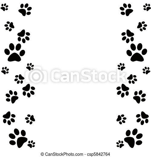 Animal paws border in black and white - csp5842764