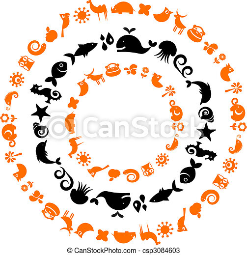 Animal planet - collection of ecological icons - csp3084603