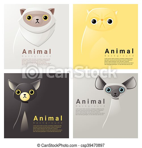 Animal portrait collection with cats 1 - csp39470897