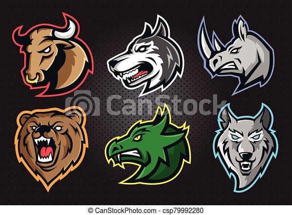 Animal professional logo set for a sport team - csp79992280