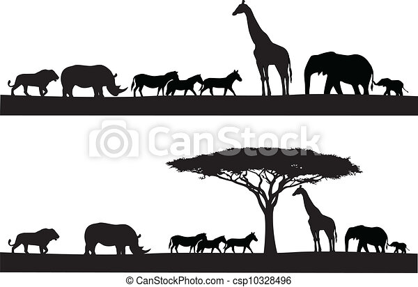 animal, safari, silhouette - csp10328496