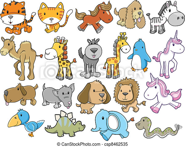 Animal Safari Wildlife Vector set - csp8462535