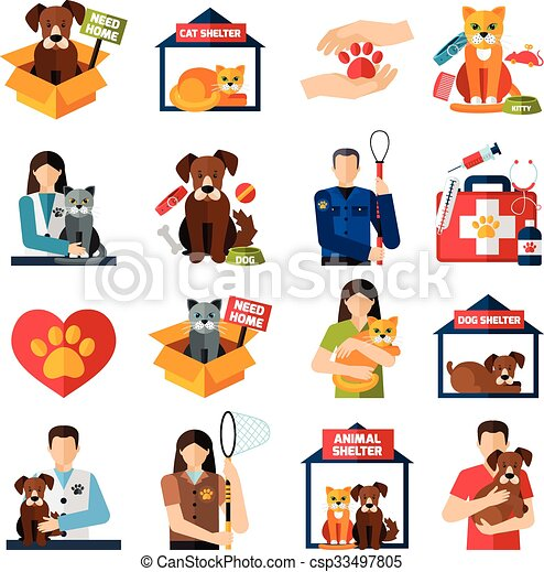 animal shelter icons set with volunteers with cats and dogs rh canstockphoto com dog shelter clipart Cartoon Animal Shelter